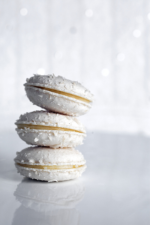 Stack of Three Coconut Macarons with Vanilla Cream