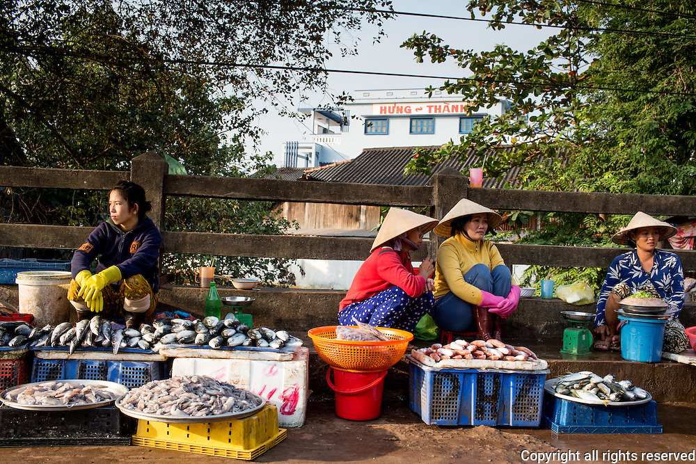 various scenes around the Duong Dong morning market