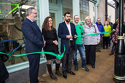 Pictured: Pete Reid, Growth & Investment Manager, Clara Walker, Forth Environment Link Chief Executive, Humza Yousaf, Ray Burr, Falkirk Active Travel Hub Coordinator and Cecil Meiklejohn, leader of Falkirk Council.<br /> Transport minister Humza Yousaf MSP opened Falkirk's active travel hub. The resource will encourage people to make healthier, greener travel choices. <br /> <br /> <br /> Ger Harley | EEm 6 February 2018