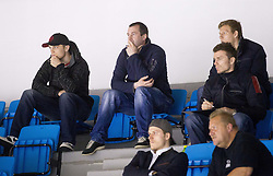 Maks Selan, Tomaz Razingar, Andrej Hocevar and Miha Stebih during Friendly Ice-hockey match between National teams of Slovenia and Austria on April 19, 2013 in Ice Arena Tabor, Maribor, Slovenia.  Slovenia defeated Austria 5-2. (Photo By Vid Ponikvar / Sportida)