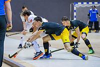 ROTTERDAM  - Jasper Tukkers (Den Bosch) met Boris Burkhardt (Adam)  finale NK  zaalhockey hoofdklasse, Den Bosch H1-Amsterdam H1 (2-5) .   COPYRIGHT  KOEN SUYK