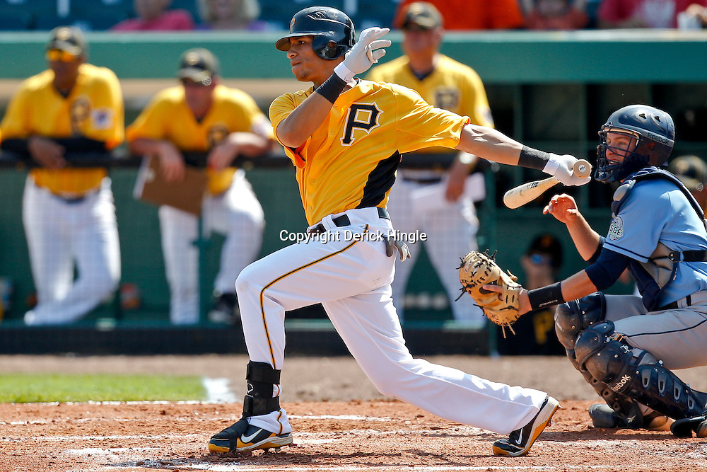 February 25, 2011; Bradenton, FL, USA; Pittsburgh Pirates center fielder Gorkys Hernandez (66) during a spring training exhibition game against the State College of Florida Manatees at McKechnie Field. The Pirates defeated the Manatees 21-1. Mandatory Credit: Derick E. Hingle