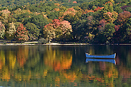 Fall, lake and boat