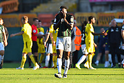 Freddie Ladapo (19) of Plymouth Argyle looks dejected as he pulls his shirt over his face at full time after Plymouth lost 3-2 to Burton Albion during the EFL Sky Bet League 1 match between Plymouth Argyle and Burton Albion at Home Park, Plymouth, England on 20 October 2018.