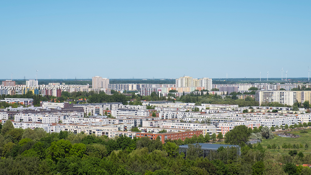 View of housing estate at Marzahn from viewpoint at IFA 2017 International Garden Festival (International Garten Ausstellung) in Berlin, Germany