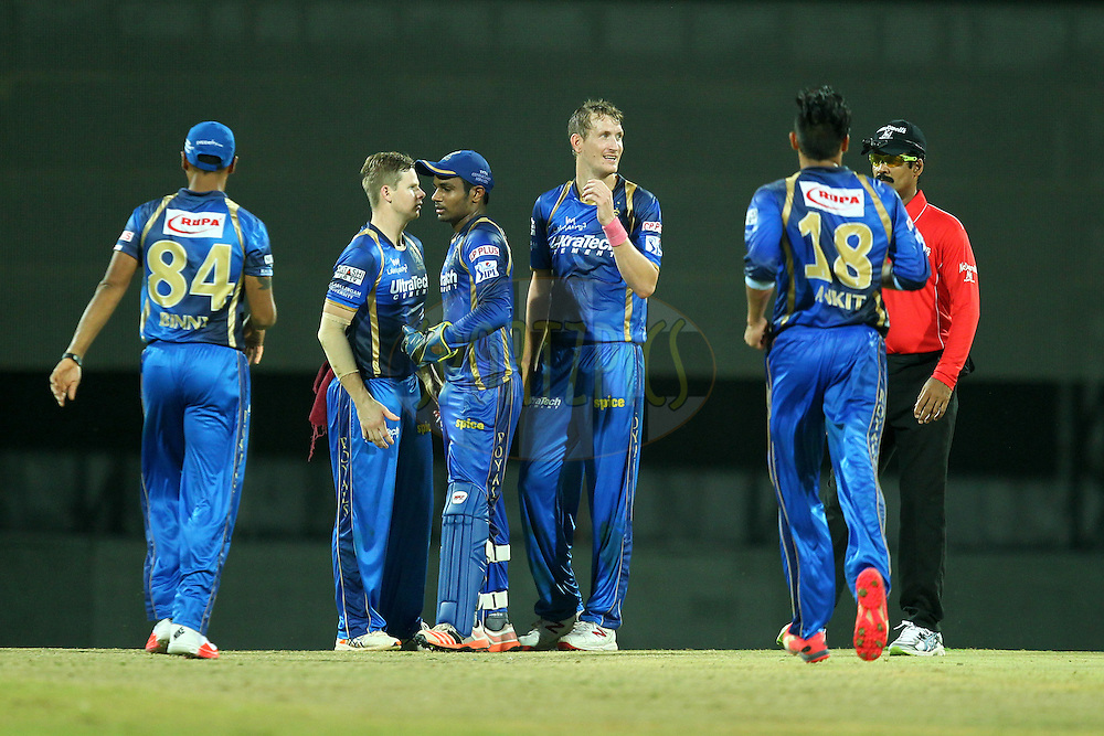 Chris Morris  of Rajasthan Royals celebrates wicket of Pawan Negi during match 47 of the Pepsi IPL 2015 (Indian Premier League) between The Chennai Superkings and The Rajasthan Royals held at the M. A. Chidambaram Stadium, Chennai Stadium in Chennai, India on the 10th May 2015.Photo by:  Prashant Bhoot / SPORTZPICS / IPL
