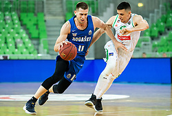 Sinisa Bilic of Rogaska vs Erjon Kastrati of Petrol Olimpija during basketball match between KK Petrol Olimpija and KK Rogaska in Round #5 of Liga Nova KBM za prvaka 2018/19, on March 31, 2019, in Arena Stozice, Ljubljana, Slovenia. Photo by Vid Ponikvar / Sportida
