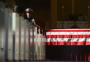 Gary Cosby Jr./Decatur Daily     Decatur Police Honor Guard officer Byron Williams stands guard beside the casket of former Decatur mayor and state representative Bill Dukes during his funeral service Saturday at First Presbyterian Church in Decatur. Dukes, 87, was laid to rest in Roselawn Cemetery.