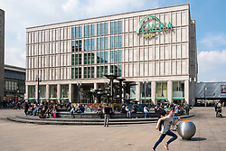 Exterior view of Galleria Kaufhof department store in Alexanderplatz, Mitte Berlin Germany