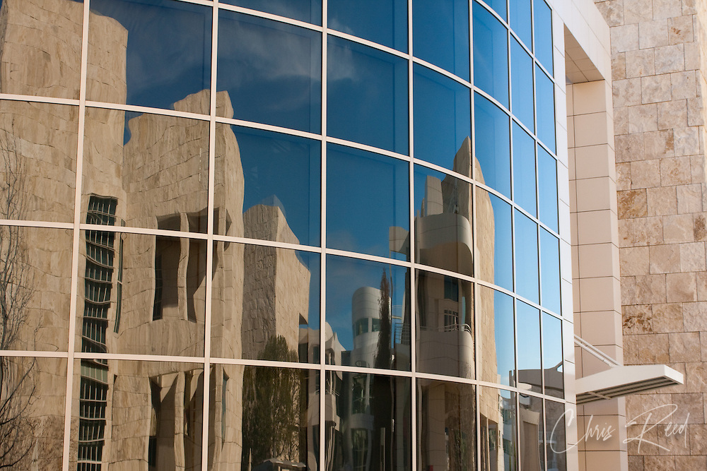USA, California, Los Angeles. Architectural reflections in windows at the Getty Center.