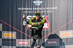 September 29, 2018 - 01, Jonathan Rea, GBR, Kawasaki ZX-10RR, Kawasaki Racing Team WorldSBK, SBK 2018, MOTO - SBK Magny-Cours Grand Prix 2018, Race 1, 2018, Circuit de Nevers Magny-Cours, Acerbis French Round, France ,September 29 2018, action during the SBK Race 1 of the Acerbis French Round on September 29 2018 at Circuit de Nevers Magny-Cours, France (Credit Image: © AFP7 via ZUMA Wire)