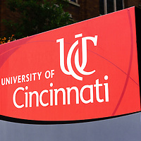 Photo of University of Cincinnati sign. Photo is high resolution an was taken in 2012.