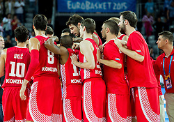Players of Croatia celebrate after winning during basketball match between Netherlands and Croatia at Day 5 in Group C of FIBA Europe Eurobasket 2015, on September 9, 2015, in Arena Zagreb, Croatia. Photo by Vid Ponikvar / Sportida
