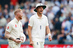 England's Stuart Broad (right) and Ben Stokes walk off for the tea break during day two of the First NatWest Test Series match at Lord's, London.