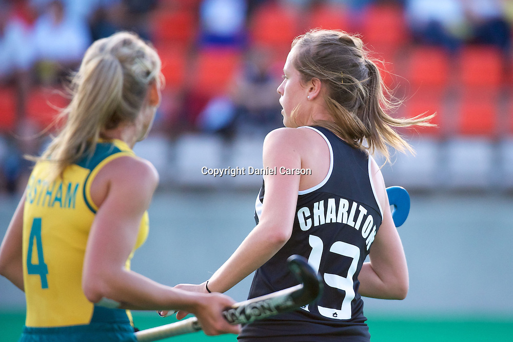 Samantha Charlton marks Casey Eastham. Hockeyroos v New Zealand International Hockey match. Curtin Hockey Stadium, Perth. Wednesday 17 February 2010. Photo: Daniel Carson/PHOTOSPORT