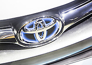 The logo of Japanese automaker Toyota is seen on a car during a press preview of the Seoul Motor Show in Goyang, north of Seoul, April 2, 2015. Photo by Lee Jae-Won (SOUTH KOREA) www.leejaewonpix.com/