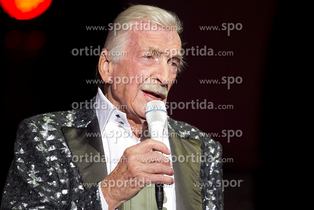 09.06.2015, Palm Beach, USA, Bandleader James Last mit 86 Jahren gestorben, im Bild der Deutsche Bandleader James Last ist am Dienstag mit 86 Jahren in Florida (USA) gestorben. 70 Jahre stand James Last auf der Show-Buehne, erst im Maerz und April feierte er seine Abschiedstournee &quot;Non Stop Music&quot;. Hier auf einem Archivbild vom 08.04.2015 in der Freiburger Rothaus Arena // Bandleader James Last died on Tuesday with 86 years in Florida (USA). 70 years was James Last on stage, in March and April he celebrated his farewell tour &quot;Music Non Stop&quot; Rothaus Arena in Palm Beach, United States on 2015/06/09. EXPA Pictures &copy; 2015, PhotoCredit: EXPA/ Eibner-Pressefoto/ Fleig<br /> <br /> *****ATTENTION - OUT of GER*****