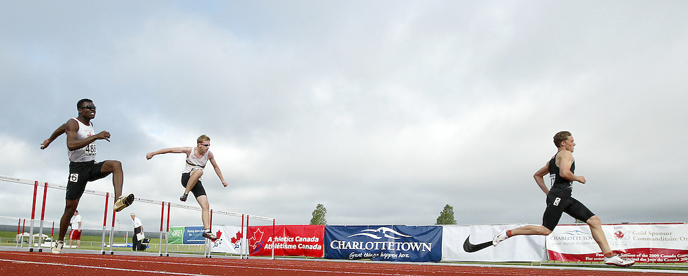 (Charlottetown, Prince Edward Island -- 20090719) \\decathlon 110m hurdles at the 2009 Canadian Junior Track & Field Championships at UPEI Alumni Canada Games Place on the campus of the University of Prince Edward Island, July 17-19, 2009.  Copyright Sean Burges / Mundo Sport Images , 2009...Mundo Sport Images has been contracted by Athletics Canada to provide images to the media.