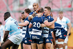 Bristol Rugby Winger Tom Varndell celebrates with replacement Andy Uren and Fly-Half Callum Sheedy after they win 45-19 (90-35 on aggregate) to secure a place in the Championship Play Off Final - Mandatory byline: Rogan Thomson/JMP - 08/05/2016 - RUGBY UNION - Ashton Gate Stadium - Bristol, England - Bristol Rugby v Beford Blues - Greene King IPA Championship Semi Final 2nd Leg.