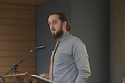 Connor Fewell, MacKenzie King Honors Student, gives remarks during the ribbon cutting ceremony for the Gladys W. and David H. Patton College of Education's newly renovated McCracken Hall held on January 27, 2017.