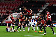 Sam Surridge (14) of AFC Bournemouth heads the ball away from danger during the EFL Cup match between Bournemouth and Crystal Palace at the Vitality Stadium, Bournemouth, England on 15 September 2020.