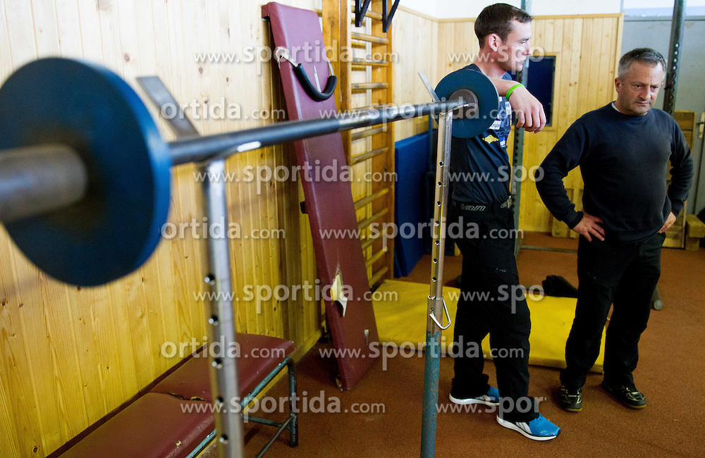 Nejc Frank and Jani Grilc, assistant coaches during fitness training of Slovenian Ski jumping National A team, on April 24, 2013, in Stadium Kranj, Slovenia. (Photo By Vid Ponikvar / Sportida.com)