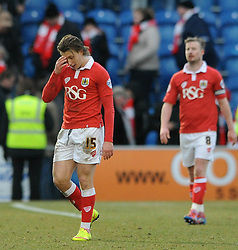 Bristol City's Luke Freeman  cuts a dejected figure at the end of the game - Photo mandatory by-line: Dougie Allward/JMP - Mobile: 07966 386802 - 21/02/2015 - SPORT - Football - Colchester - Colchester Community Stadium - Colchester United v Bristol City - Sky Bet League One