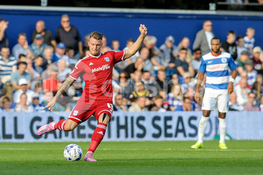 Anthony Pilkington of Cardiff City in action during the Sky Bet Championship match between Queens Park Rangers and Cardiff City at the Loftus Road Stadium, London, England on 15 August 2015. Photo by Salvio Calabrese.