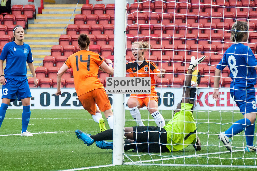 Glasgow City's Cheryl McCulloch(14) scores the opening goal. Action from the Glasgow City v Nove Zamky game in the UEFA Womens Champions League at Excelsior Stadium in Airdrie, 9 August 2014. (c) Paul J Roberts / Sportpix.org.uk