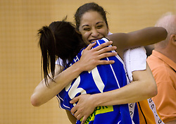 Nikya Hughes of Celje with Esmary Vargas-Sanchez of Kranjska Gora  at finals match of Slovenian 1st Women league between KK Hit Kranjska Gora and ZKK Merkur Celje, on May 14, 2009, in Arena Vitranc, Kranjska Gora, Slovenia. Merkur Celje won the third time and became Slovenian National Champion. (Photo by Vid Ponikvar / Sportida)