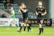 4 Alan Lithgow scores opening goal during the Betfred Scottish Cup match between Hibernian and Livingston at Easter Road, Edinburgh, Scotland on 19 September 2017. Photo by Kevin Murray.