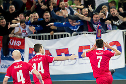 Dragan Tomic of Serbia celebrates goal during futsal match between Serbia and Italy at Day 3 of UEFA Futsal EURO 2018, on February 1, 2018 in Arena Stozice, Ljubljana, Slovenia. Photo by Urban Urbanc / Sportida