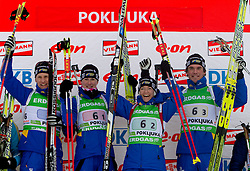Winning team of Sweden: Carl Johan Bergman, Helena Ekholm, Anna Carin Zidek and Fredrik Lindstroem during flower ceremony after the Mixed 2x6 + 2x7,5km relay of the e.on IBU Biathlon World Cup on Saturday, December 19, 2010 in Pokljuka, Slovenia. The fourth e.on IBU World Cup stage is taking place in Rudno polje - Pokljuka, Slovenia until Sunday December 19, 2010. (Photo By Vid Ponikvar / Sportida.com)