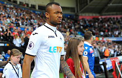 Jordan Ayew of Swansea City walks on to the pitch before kick-off -Mandatory by-line: Nizaam Jones/JMP- 13/05/2018 - FOOTBALL - Liberty Stadium - Swansea, Wales - Swansea City v Stoke City - Premier League