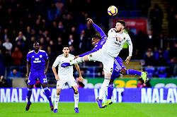 Junior Hoilett of Cardiff City contends for the aerial ball with Matt Doherty of Wolverhampton Wanderers - Mandatory by-line: Ryan Hiscott/JMP - 30/11/2018 -  FOOTBALL - Cardiff City Stadium - Cardiff, Wales -  Cardiff City v Wolverhampton Wanderers - Sky Bet Championship