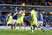 Birmingham City defender Michael Morrison and Huddersfield Town midfielder Dean Whitehead tussle for the header during the Sky Bet Championship match between Birmingham City and Huddersfield Town at St Andrews, Birmingham, England on 5 December 2015. Photo by Alan Franklin.