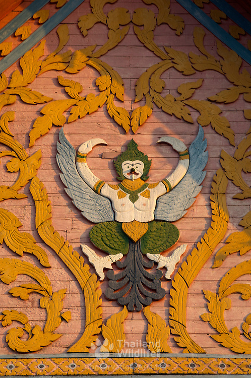 Garuda symbol of Thailand on Wat Phra That Chang Kham is the second most important temple in Nan, Thailand, after Wat Phumin.
