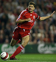 Photo: Paul Thomas.<br /> Liverpool v Newcastle United. The Barclays Premiership. 20/09/2006.<br /> <br /> Steven Gerrard of Liverpool in action.