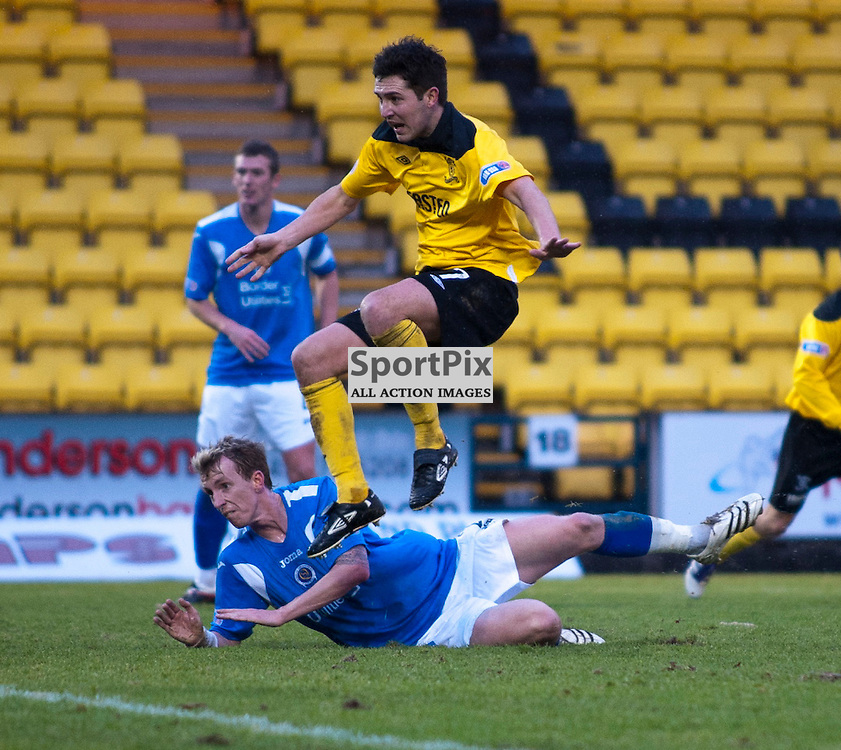 liam Fox watches his shot hit thr net, Livingston v Queen of the South, SFL Division 1, Braidwood Motor Company Stadium, 21st January 2012