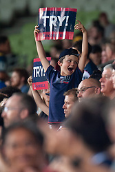 March 1, 2019 - Victoria, VIC, U.S. - MELBOURNE, AUSTRALIA - MARCH 01: A young Rebel fan holds a try sign after the Rebels score at The Super Rugby match between Melbourne Rebels and Highlanders on March 01, 2019 at AAMI Park, VIC. (Photo by Speed Media/Icon Sportswire) (Credit Image: © Speed Media/Icon SMI via ZUMA Press)