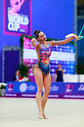 Halkina Kastiaryna during final at ribbon in World Cup Pesaro, Adriatic Arena on April 15,2018. Katsiaryna is a Belarusian rhythmic gymnastics athlete born February 25,1997 in Minks, Belarus.
