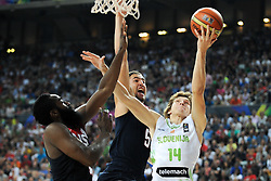 James Harden and Klay Thompson of USA vs Jaka Klobucar of Slovenia during basketball match between National Teams of Slovenia and USA in Quarterfinals of FIBA Basketball World Cup Spain 2014, on September 9, 2014 in Palau Sant Jordi, Barcelona, Spain. Photo by Tom Luksys  / Sportida.com <br /> ONLY FOR Slovenia, France
