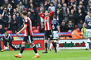 Sheffield United defender Richard Stearman (19) in despair after missing close range shot at goal during the EFL Sky Bet Championship match between Sheffield United and Millwall at Bramall Lane, Sheffield, England on 14 April 2018. Picture by Ian Lyall.