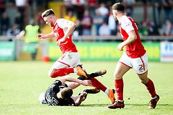 Wes Burns of Fleetwood Town takes on Ryan Colclough of Wigan Athletic - Mandatory by-line: Robbie Stephenson/JMP - 21/04/2018 - FOOTBALL - Highbury Stadium - Fleetwood, England - Fleetwood Town v Wigan Athletic - Sky Bet League One