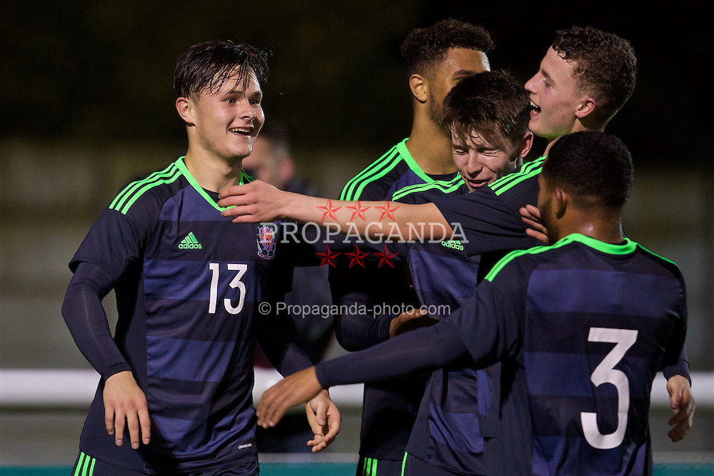 BANGOR, WALES - Tuesday, November 15, 2016: Wales' Liam Cullen celebrates scoring the fourth goal against Luxembourg during the UEFA European Under-19 Championship Qualifying Round Group 6 match at the Nantporth Stadium. (Pic by David Rawcliffe/Propaganda)