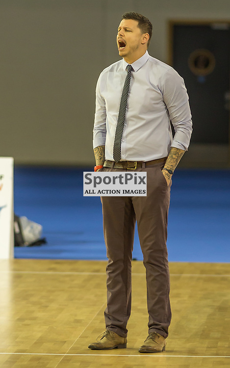 Plymouth University Coach Jay Marriott shouts orders during the game vs Glasgow Rocks (c) ROSS EAGLESHAM | StockPix.eu