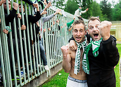 Matic Fink #17 of NK Olimpija Ljubljana celebrate after winning during football match between NK Rudar and NK Olimpija Ljubljana in Round #35 of Prva liga Telekom Slovenije 2015/16, on May 14, 2016, in Stadium Ob jezeru, Velenje, Slovenia. NK Olimpija with this victory became Slovenian National Champion 2016. Photo by Vid Ponikvar / Sportida