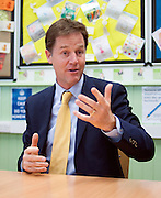 ***STRICT EMBARGO UNTIL 12:01AM 13/06/14*** © Licensed to London News Pictures. 12/06/2014. Carshalton, UK Deputy Prime Minister and leader of the Liberal Democrats, Nick Clegg, visits Carshalton High School for Girls in Surrey today 12th June 2014. He was joined by Schools Minister David Laws and local Liberal Democrat MP Tom Brake.  Photo credit : Stephen Simpson/LNP