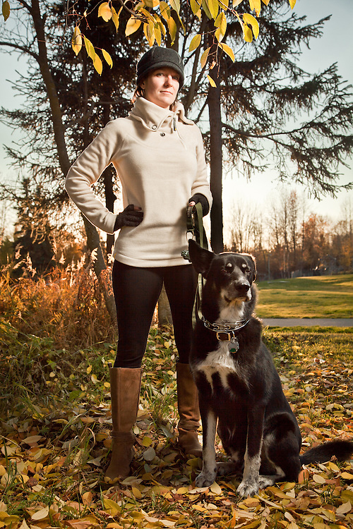 Sarah Case with her rescue dog, Charles, Valley of the Moon Park, Anchorage