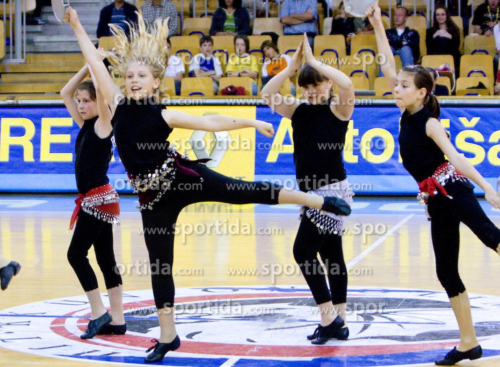 Mini Dragon Ladies, Mini Zmajcice -  cheerleaders of Union Olimpija at first semifinals basketball match of Slovenian Men UPC League between KK Union Olimpija and KK Zlatorog Lasko, on May 15, 2009, in Arena Tivoli, Ljubljana, Slovenia. Zlatorog won 70:66. (Photo by Vid Ponikvar / Sportida)